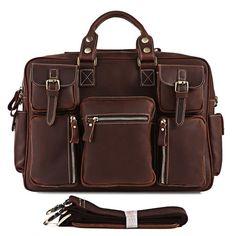 Vintage Handmade Genuine Crazy Horse Leather Business Travel Bag