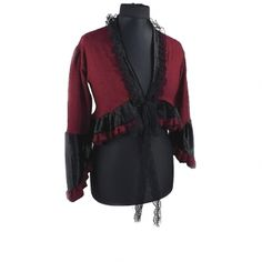 88Womens cropped Jacket, Bolero in Evening or Vintage style, Formal Blazer jacket has sleeves to Cocktail or PartyWomen's Jacket, Bolero has the romantic ruffles that frame this Jacket, The bolero covers your arms neck and back and has ribbon in the front that you can lace together, cropped Jacket this unique custom made for You, cropped Bolero is so very elegantbolero blazer, evening cropped jacket of textured fabric has sleeves for women, red & black 0040