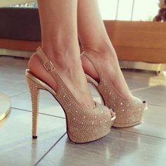 Glitter peep toe platforms