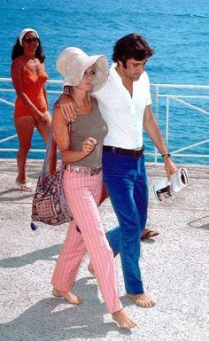 Brigitte and her boyfriend, Gigi Rizzi - 1968......fashion back than.....very in fashion now!!