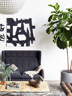 Edgy modern loft living room from Atlanta Homes & Lifestyles on Thou Swell @thouswellblog