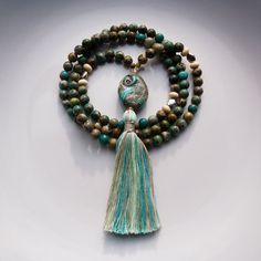 'ATLANTIS' - Buddhist Mala Beads in Sea Sediment Jasper (Variscite) and Sterling Silver with lampworked Guru bead