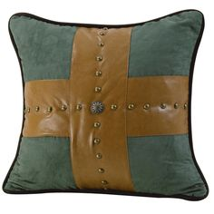 "HiEnd Accents Las Cruces Studded Cross Pillow 18"" Square #Western #Pillow #WesternDecor #HiEndAccents #DelectablyYoursDecor"