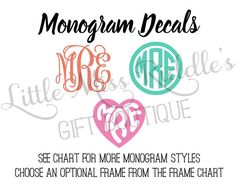 Monogram Vinyl Decals for Tumblers Yeti Cars by LittleMissRiddle