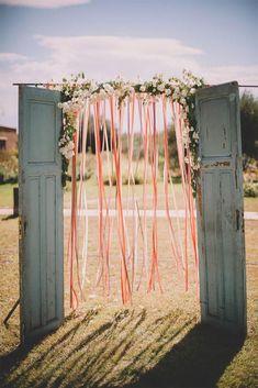 39 Cheap Wedding Decorations Which Look Chic ❤ cheap wedding decorations arch with ribbons and blue wooden doors soul pics #weddingforward #wedding #bride