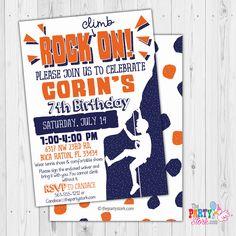 Rock Climbing Invitation, Rock Climbing Birthday Party Invitations, Printable by ThePartyStork on Etsy Mickey Invitations, Art Party Invitations, Kids Birthday Party Invitations, Digital Invitations, Invites, Mickey First Birthday, Teen Birthday, Birthday Ideas, Rock Climbing Party