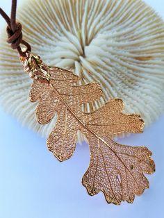 Listek Dębu w różowym złocie w ATELIER LUKSUSOWEJ BIZUTERII INSPIROWANEJ NATURA   na DaWanda.com