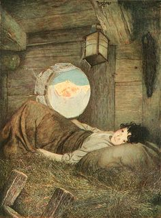 """""""Heidi"""", Buchillustration (1923) von Gustaf Tenggren (* 3. November 1896 in Magra/Västra Götalands län; † 6. April 1970 in West Southport/USA)"""