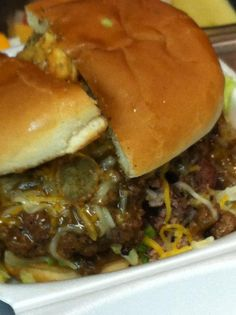 The Chili Cheese Burger. Topped with our house made chili, cheddar cheese, and fried jalapenos.