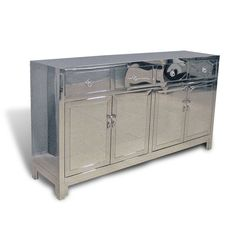 Hand worked stainless steel buffet cabinet based on classical Chinese design. Internal shelves in bottom compartment. Buffet Console, Buffet Cabinet, Antique Chinese Furniture, Chinese Design, Chrome, Hardware, Collections, Stainless Steel, Shelves
