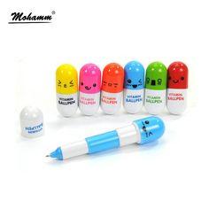 1 sztuk Śliczne Kawaii Niebieskim Tuszem Pigułki Kapsułka Kreatywny Ball Długopisy Długopis Do Biura Pisania Szkoła Przybory Papiernicze