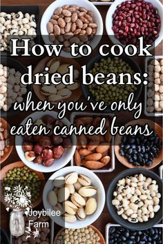 How to cook dried beans, when you've only eaten canned beans Dairy Free Recipes, Real Food Recipes, Cooking Recipes, Yummy Food, Healthy Recipes, Healthy Meals, Cooking Tips, Survival Food, Survival Tips