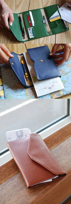 The All-in-One Slim Leather Clutch is a slim and colorful clutch that is great for both daily usages and as a traveling wallet with the spacious pocket that can fit a passport!
