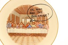 Jesus Inspirational plate  The Last Supper  funny gift by LennyMud