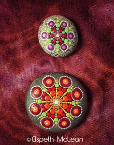 Autumn tone Mandala Stones by Elspeth McLean #mandala #rockart #paintedstones…