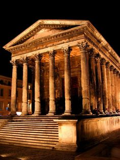 Maison Carrée - the only completely preserved temple from the ancient Roman world. Built in year 16CE, Nîmes, France.