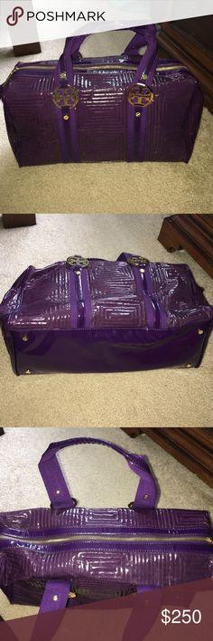 Satchel Purple patent leather satchel with zipper Tory Burch Bags Satchels
