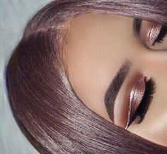 glitter rose hair and eyeshadow