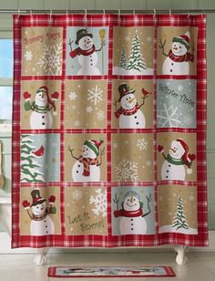 Snow Time Country Snowman Holiday Shower Curtain love love love me sum Snowfolks