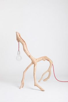 Bichos by Martinho Pita. Hand-made lamps from the branches of Oak trees. Each branch—and thus lamp—is unique. David Smith, Tree Lamp, Folder Design, Diy Clock, Wooden Lamp, Animal Projects, Motion Design, Decoration, Industrial Design