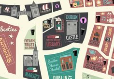 Idea for HLC Final Presentation--dotted lines for route (Dublin City Map by Peter Donnelly, via Behance) We Built This City, Tourist Map, Dublin City, City Landscape, City Maps, Travel Themes, Graphic Design Typography, Cartography, British Isles