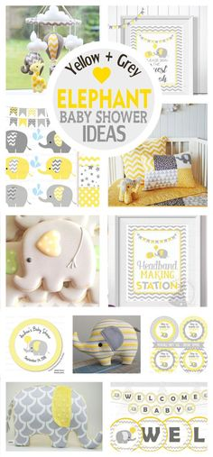 Elephant Chevron Yellow and Grey Baby Shower Ideas + Printable Collection – Partymazing