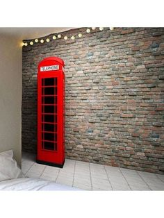 Waterproof Brick Wall Telephone Booth Pattern Wall Hanging Tapestry