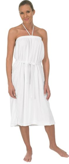 Terry Bare Shoulders Gown (#225/525)  *Poly/cotton stretch terry cloth  *Elastic top for comfortable fit  *Ties around neck  *Ideal for salon and spas  *Attached belt  *Machine washable  *Made in USA  *Color: White
