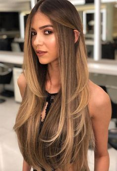 Hair highlights 67 Trendy Long Layered Haircuts & Hairstyles for Every Taste - Glowsly Haircuts For Long Hair With Layers, Long Layered Haircuts, Long Hair Cuts, Straight Hairstyles, Haircut Long Hair, Layered Long Hair, U Cut Hairstyle, Layered Hair Hairstyles, Best Hair Cut