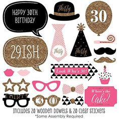 Chic 30th Birthday - Pink, Black and Gold - Birthday Photo Booth Props Kit - 20 Count