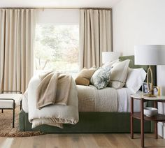 Raleigh Square Upholstered Low Platform Bed | Pottery Barn Fall Home Decor, Autumn Home, Autumn Fall, Low Platform Bed, Marble End Tables, Iron Table, Linen Bedding, Pottery Barn, Duvet Covers