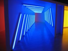 Dan Flavin Untitled  Dan flavin seeks to create surreal spaces with light and space. rooms become cavernous tunnels, vessels of color, and dimensional light spaces.