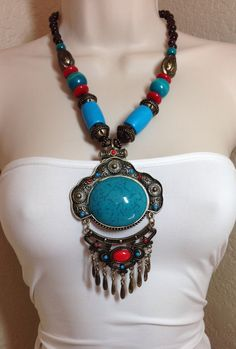 Turquoise Tribal Style Necklace by Oldtonewjewels on Etsy