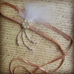 Blush Pink 1920s and Great Gatsby Inspired headband with feathers , rhinestone brooch and beads - 1920 Great Gatsby Party - Gossip Girl
