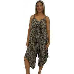 NEW PLUS SIZE XL JUMPSUIT PLAYSUIT CHEETAH PRINT COMFY FREE SIZE FITS 18  - 22  $59.95