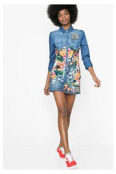 Camisa denim con print floral | Desigual.com