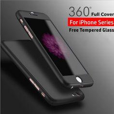 럭셔리 360 360도 전체 바디 보호 매트 pc 커버 case 대한 iphone 6 6 초 7 플러스 5 5 초 se 강화 유리 iphone 6 s case