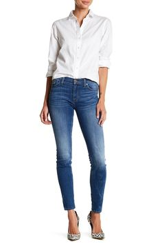 Classic in a white blouse & blue jeans.  HUDSON Jeans Nico Skinny Jeans