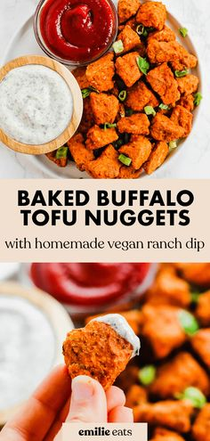 These Baked Buffalo Tofu Nuggets are a fun gluten-free snack or side dish! Serve with a vegan ranch dip for the ultimate appetizer. Tofu Recipes, Vegan Recipes Easy, Side Dish Recipes, Whole Food Recipes, Side Dishes, Free Recipes, Vegan Party Food, Easy Party Food, Buffalo Sauce Ingredients