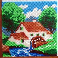 Landscape hama perler beads by Deco. Hama Beads Design, Diy Perler Beads, Pearler Bead Patterns, Perler Patterns, Motifs Perler, Peler Beads, Pattern Coloring Pages, Melting Beads, Fuse Beads
