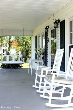 Classic southern porch complete with rocking chairs and swing!