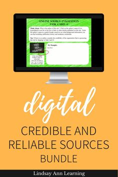 Are your students able to find credible and reliable sources online? These activities and assessments will help your 21st-century learners to evaluate online source credibility and bias through formative assessment, task cards, and a Google Form source evaluation activity. #englishlanguagearts #secondaryela #remotelearning #distancelearning Google Classroom, Classroom Ideas, English Language, Language Arts, Writing Anchor Charts, Learning Stations, 21st Century Learning, High School Classroom, Differentiated Instruction