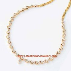 Simple Diamond Necklace Designs | Simple necklace with a single row of round cut diamonds around your ...