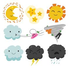 Weather designs collection Free Vector