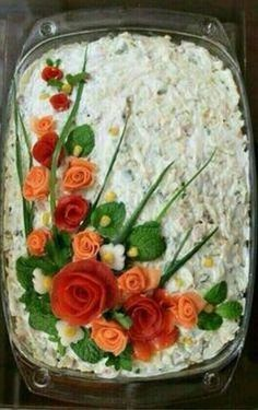 Decorations in spectacular and delicious Geric Food Carving Ideas Çorba Tarifleri Cute Food, Good Food, Creative Food Art, Food Carving, Food Garnishes, Garnishing, Food Platters, Food Decoration, Food Crafts