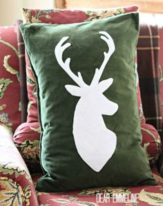 Deer Silhouette Holiday Pillow