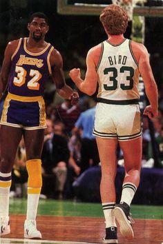 1980s Sports - Lakers v Celtics rivalry. Magic Johnson and Larry Bird