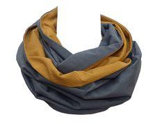 2 Haute Couture fabrics, Versatile Mustard yellow dark grey Snood scarf,  mens woman, infinity loop, turmeric patchwork ochre, cotton wool 3c951ff3c67