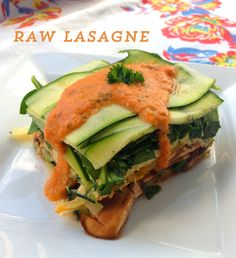 """This is a recipe that I've been playing with and tweaking for a couple of years. I think I finally got it just right - this dish has the healthiness, virtuousness, and nutrition of raw food, the freshness of salad and the savory yumminess of lasagna. If you don't like the idea of """"raw lasagna,"""" you…"""
