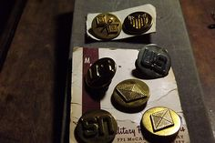 US Military Collar Button Tac Pin Lot of 7 LOOK Military Post Suppliers